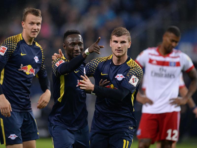 Naby Keita und Timo Werner schossen RB Leipzig zum Auswärtssieg. Foto: Daniel Reinhardt