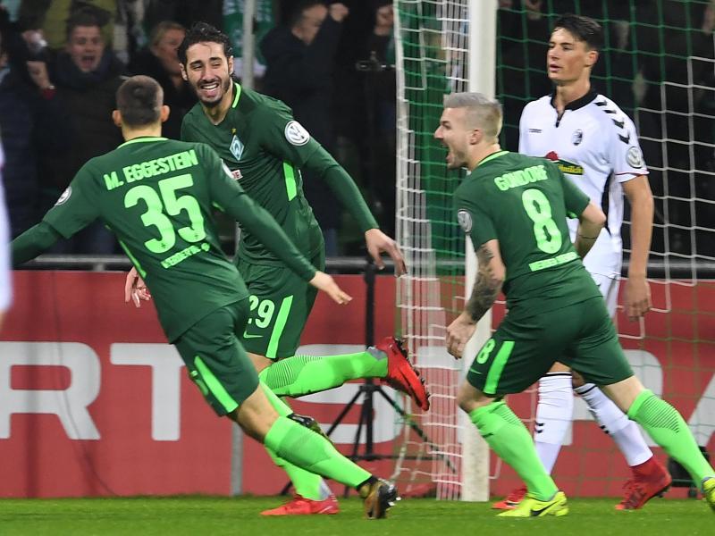 Werder Bremen steht durch den Sieg gegen Freiburg im Viertelfinale des DFB-Pokals. Foto: Carmen Jaspersen