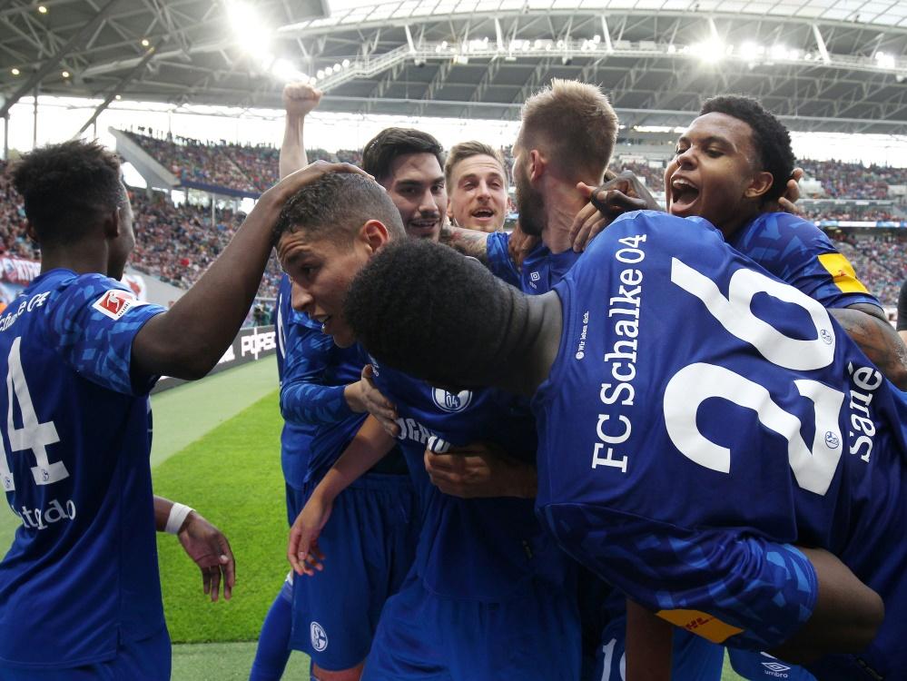 Schalker Freude über den Auswärtssieg bei RB Leipzig